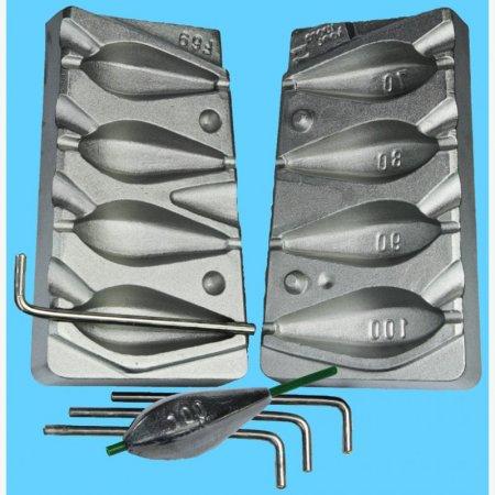 MATRITE PLUMBI CULISANTI model F 69 marimea cavitatilor 70-80-90-100 gr DIAMETRU GAURA 3,2 MM
