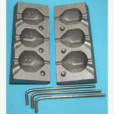 MATRITE PLUMBI CULISANTI model F 103 marimea cavitatilor 60-70-90gr DIAMETRU GAURA 3,2 MM
