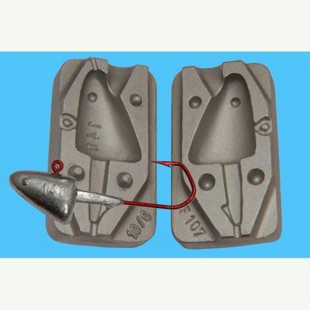 MATRITE PLUMBI JIGURI model F107 cavitati de marimea 140g pentru ace de 10/0-12/0