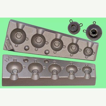 MATRITE PLUMBI JIGURI model F128 cavitati de marimea 8-14-20-30-40g agrafe 7201