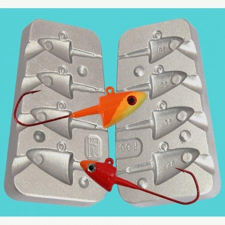 MATRITE PLUMBI JIGURI model F66 cavitati de marimea 18-20-30-35-g pentru ace de marimea 5/0-6/0